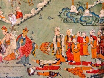 Mural in Samye Monastery showing Trisong Detsen receiving Guru Rinpoche